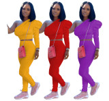 2020 Women Autumn Fashion Causal Sexy Pencil Pants Solid Color Side Long sleeve Two - piece Set 202004299056