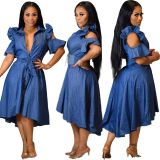 2020 Solid Color Cutout Ruffled Front Short Back Long Denim Club Casual Dress 202003199137