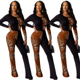 2020 Spring Women Jumpsuits Leopard Print Spell Color Long Sleeve Bell-bottoms Close-fitting 202004295148
