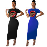 2020 Fashion Casual Sexy Tongue Print Multicolor Round Neck Short Sleeve Long Dress One Step Skirt Summer 20200429312