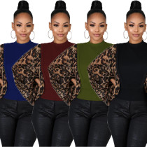 2020 Fashion Sexy Leopard Print Stitching Personality Casual Ladies Long Sleeve T-shirt Nightclub Clothes 202003205300