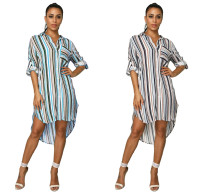 2020 Women Fashion Summer Sexy Stripe Printed Long Sleeve Short Front And Long Back Long Shirt Dress 202004289052
