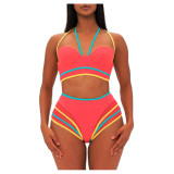 2020 Red Summer Cross Hanging Neck Split Color Zipper Casual Sexy Swimsuit Suit 202004286336