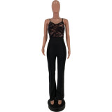 2020 Fashion Sexy Lace Silk Gauze Lace Perspective Micro Pull Trousers Suspenders Ladies Jumpsuit 202003118327