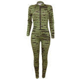 2020 Fashion Casual Sexy Digital Printing Tight Metal Zipper Long Sleeve Long Jumpsuit Winter 202004298073