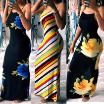 2020 Summer Printed Slim Sexy Casual Fashion Suspenders Long Ladies Dress 202004286442