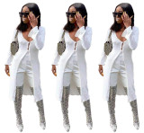 2020 Women Fashion Summer Sexy Low-cut Long Sleeve Plain Long Knit Cardigan White Coat 202004289051