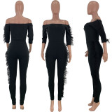 2020 Fashionable Sexy Comfortable Breathable Skinny Feather Edge Shoulder Ladies Long Jumpsuit 202003128349
