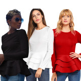 2020 Sexy Solid Color Round Neck Slim Double-layer Ruffle Hem Long Sleeve T-Shirt Women's Tops 202003118305