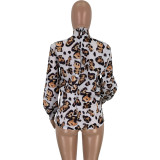 2020 Fashion Sexy Comfortable Irregular Leopard Print Turtleneck Loose Chiffon Shirt Tops Women 202003128345
