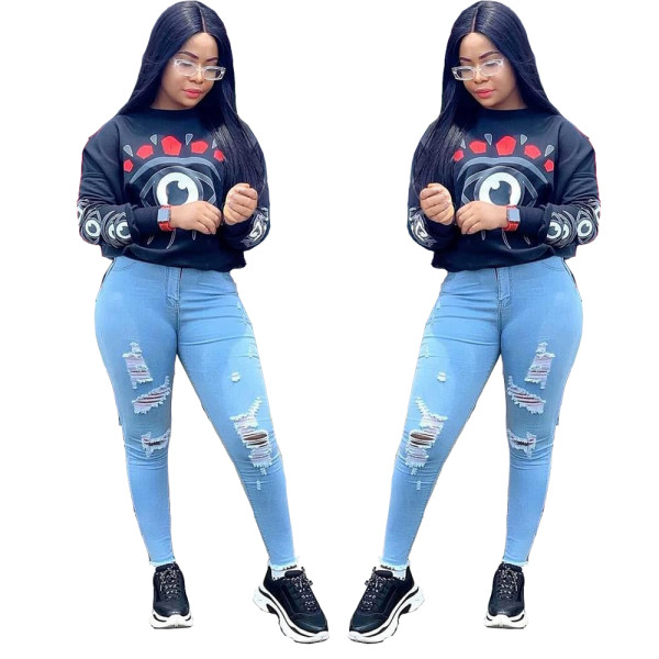 2020  Navy Blue Digital Printed T-shirt Capless Round Neck Sweater Long Sleeve Women's Top 202003108513