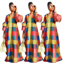 2020 Fashion Casual Elegant Colorful Plaid V-neck Ruffled Lantern Sleeves Mopping Women's Long Skirt 202003143077