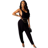 2020 Summer Women Sexy Jumpsuits Solid Color Vest Harlan Pants Fold Fashion Leisure 202004275129