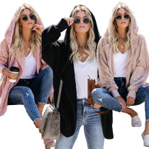2020 Very Chic And Comfortable Woolen Solid Color Loose Long Sleeve Ladies Casual Hooded Jacket 202003135099
