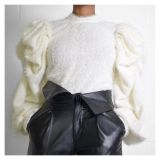 2020 Fashion Sexy Irregular Bright Silk Pleated Puff Sleeve Round Neck Long Sleeve Sweater Blouse 202003128347