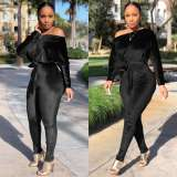 2020 Fashion Casual Sexy Velvet Stretch One Word Shoulder Tight Skinny Bat Sleeve Jumpsuit Winter 202004298089
