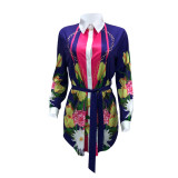 2020 Fashion Print Shirt Stand Collar Long Sleeve Casual Ladies Dress One-Step Skirt with Belt 202003103940