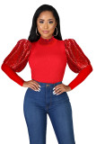 2020 Sexy Stitching Solid Color Pit Strip Long Sleeve Sequin Bubble Sleeve Round Neck Pullover Women's Shirt 202003135132