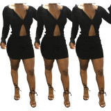 2020 Two-way Zipper Exposed Navel Skirt Long Sleeve Solid Color Ladies Two-piece Suit 202003088507