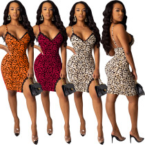2020 Summer Women Sexy Club Dresses Leopard Print Lace Halter Close-fitting Open Fork 202004274123