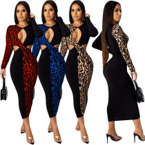 2020 Spring Women Sexy Club Dresses Leopard Print Spell Color Long Sleeve Self-cultivation 202004275120