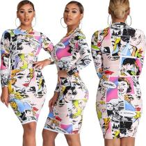 2020 Fashion Casual Cartoon Avatar Print Stitching Long Sleeve Ladies Dress 20200303150