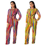 2020 Very Chic Ladies Suit Rainbow Stripe Printed Straps Long Sleeve T-shirt Trousers Two Piece Set Autumn 202004118106