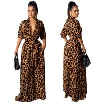 2020 Fashion Leopard Print 5-point Sleeve Lapel Dress Long Club Nightclub Skirt One Step Skirt 20200307