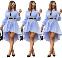 2020 Women Summer Sexy Fashion Casual Long Sleeved Solid Color Front Back Long Blouse Shirt Dress 202004189038