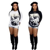 2020 Spring Women's T-shirt Loose-fitting Marilyn Fashion Digital Printing Long Sleeve Round Collar 202004178072