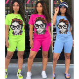 2020 Summer Casual Character Glasses Avatar Two-piece Suit Ladies Fashion Suit 202004186018