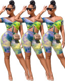 2020 Very Chic Sexy Casual Ladies Suit Tie-dye Colorful Pleated Tethered Word Collar Short Two-piece Suit Summer 202004140416