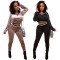 2020 Very Chic Casual Ladies Suit Gold Velvet V-neck Halter Long-sleeved T-shirt Pencil Pants Two-piece Winter 202004118100
