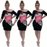 2020 Fashionable Casual Women's Positioning Print Print Sloping Shoulder Sexy Long Skirt Summer 202004139011