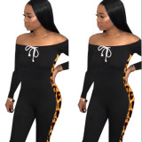 2020 Fashion Casual Sexy Leopard Stitching Straps Tight-Fitting Long-sleeved Long Jumpsuit Autumn202004108093