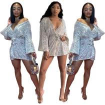 2020 Winter Sequin Laced Trumpet Sleeve Nightclub Irregular Mini Dress 20200414054