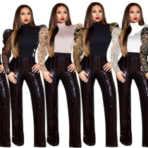 2020 Spring Women's Top Mesh Sequins Splicing Middle Collar Long Sleeve Solid Color 20200420841