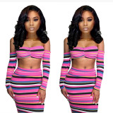 2020 Sexy Strapless Contrast Color Multi-color Striped Bag Hip Skirt Long-sleeved Sweater Two-piece Autumn 202004118098