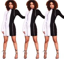 2020 Women Autumn Sexy Fashion Casual Black and White Patchwork Long-sleeved Empire Sheath Dress 202004189037
