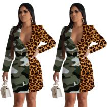2020 Fashion Casual Stitching Leopard Yellow Camouflage Small Suit Gacket 202004135082