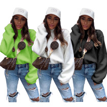 2020 Women Winter Fashion Sexy Warm Velvet Solid Color High Collar Long Sleeve Hoodies 202004127039