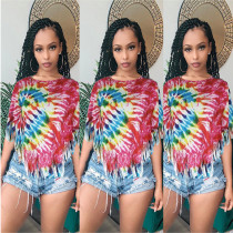 2020 Fashion Sexy Casual Colorful Tie-Dye Irregular Fringe Hem Short Sleeve Women's T-Shirt 202003218015
