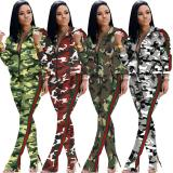 2020 Women Autumn Fashion Sexy Casual Loose Zipper Camouflage Printing Two-piece Set 202004137048