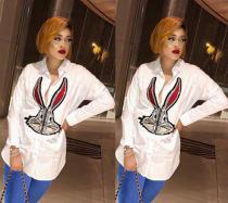 2020 Temperament Long-sleeved Cute Set Diamond Rabbit Starling Casual Ladies Shirt 202004186027