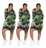 2020 Sexy Camouflage Print Off-the-shoulder Hooded Autumn Casual Dress 202004135078