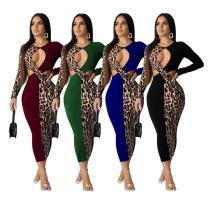 2020 Women Autumn Leopard Print Stitching Sexy Fashion Scalloped Low-cut Dress 202004127043