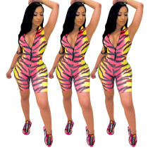 2020 Summer Zipper Color Tiger Pattern Two-color Stitching Printing Jumpsuit 20200506526