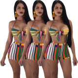 2020 Halter Split Two-piece Fashion Colored Striped Swimwear & Beachwear Ladies 202003176050