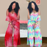 2020 Summer Two-piece Sling Gradient Tie-dye Ruffled Mop Trousers Suit Women's Clothing 202005066660