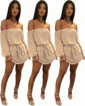 2020 Fashion Casual Lace Up Single-breasted One-shoulder Strapless Backless Short Dress A-line Skirt Summer 202004149034